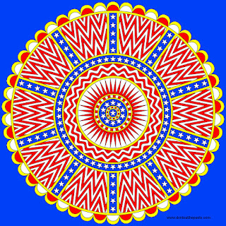 Stars and stripes mandala- with blank versions to color in jpg and transparent PNG format