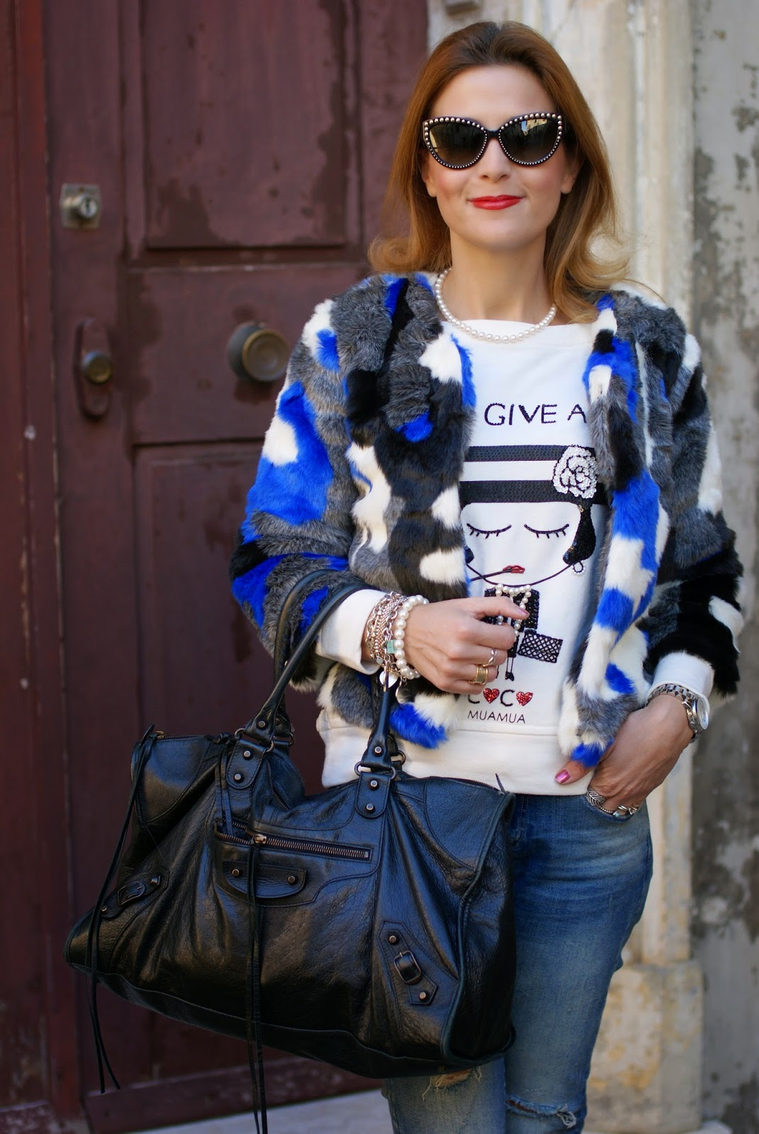 Blackfive faux fur jacket, color blocked furry jacket, Moschino studded sunglasses, Fashion and Cookies, fashion blogger