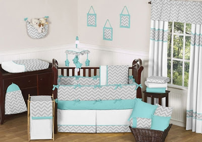 Gray and Turquoise Chevron Baby Bedding Set