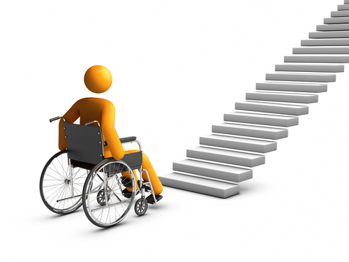 stick figure in wheelchair facing stairs