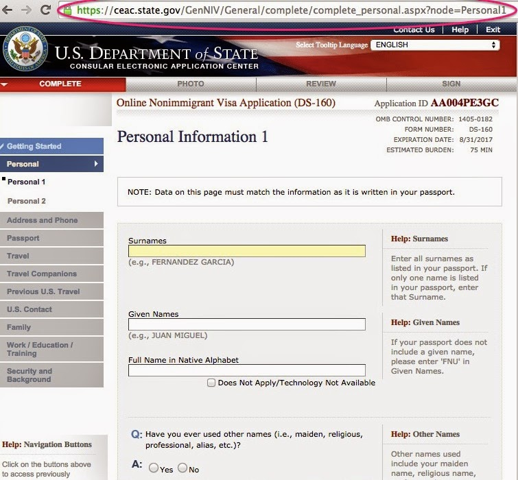 Philippine Passport Applying For A Us Tourist Visa Ds 160 Form In