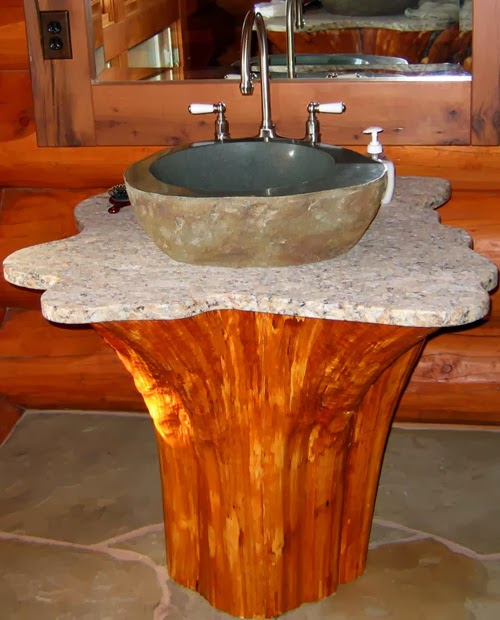 How to recycle recycled wooden logs for Recycled bathroom sinks