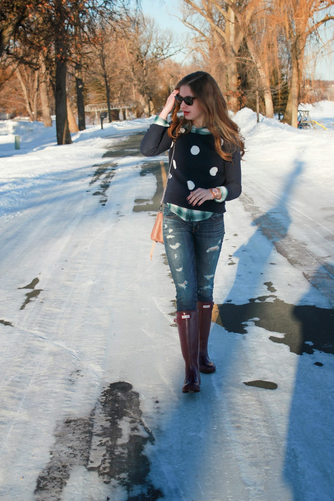 American, Eagle, polka, dot, jeans, plaid, michael, kors, watch, rebecca, minkoff, bag, hunter, boots, rayban