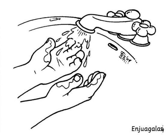 Lavado de manos para colorear - Imageneitor
