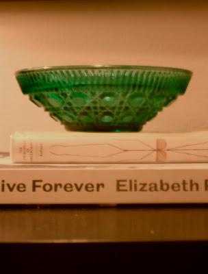 emerald green vintage ornate glass bowl