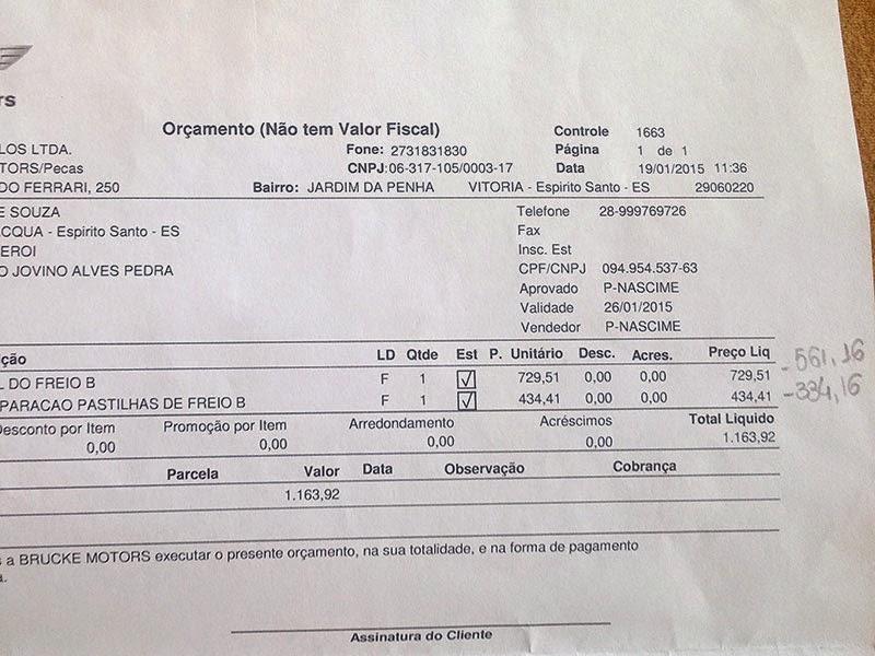 Orçamento da concessionária - pastilhas de freio.