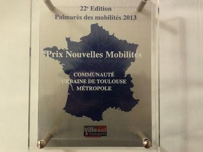 prix Nouvelles mobilités pour le plan vélo de Toulouse Métropole.