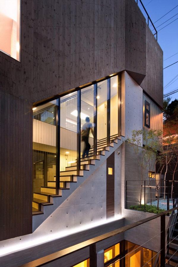 Hogares frescos tres enormes niveles en residencia for Casa moderna corea