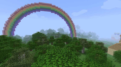 A rainbow made of wool is visible to the left, and a large woolen cake lurks in the fog to the right.