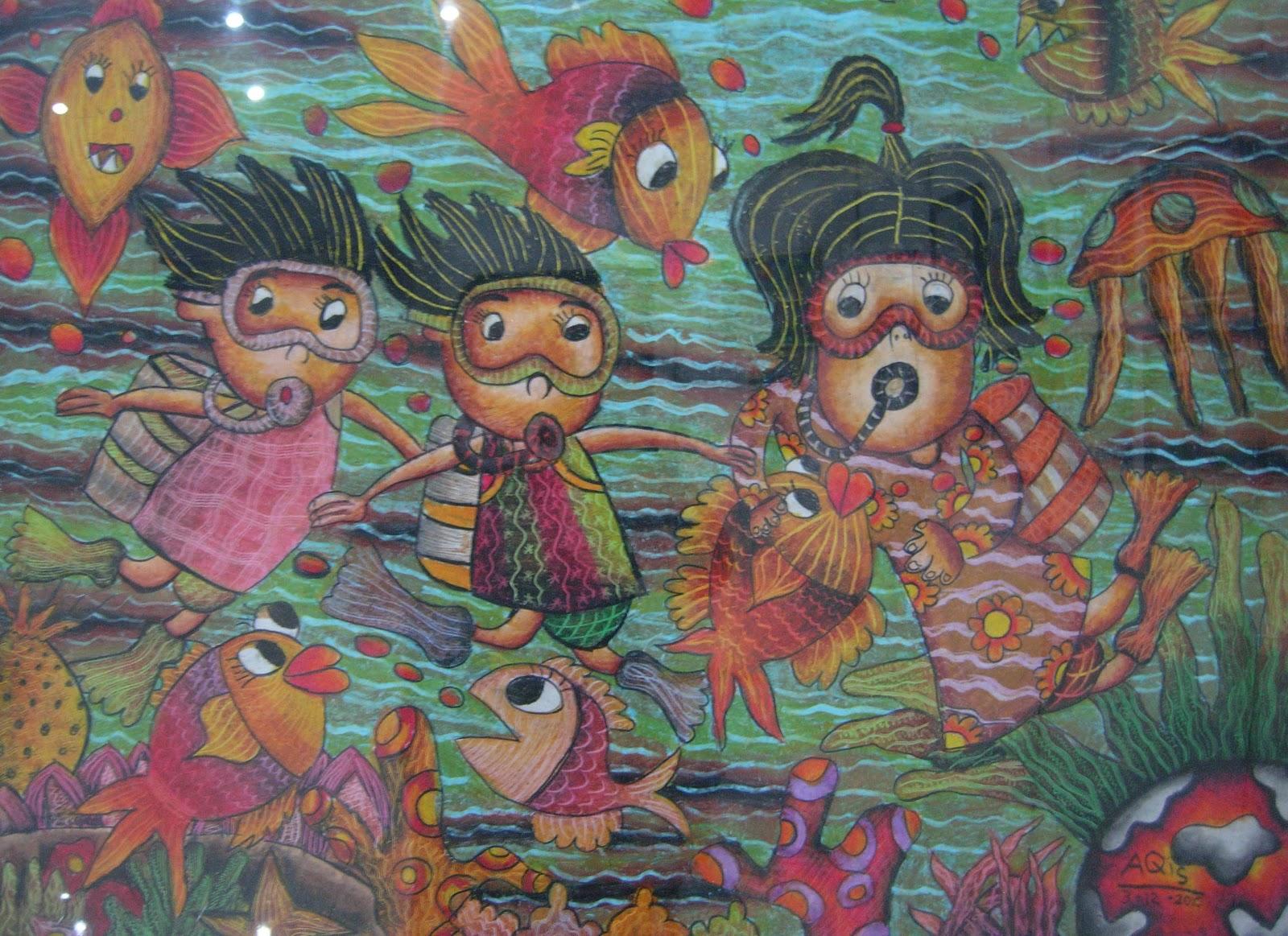 "Lukisan anak: ""menyelam"" By Ratu Balqis"