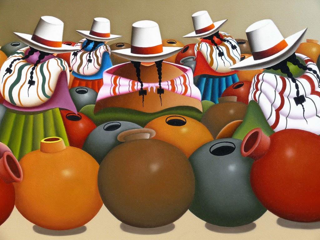 Cuadros pinturas oleos las cholas cuadros peruanos - Laminas para cuadros de cocina ...