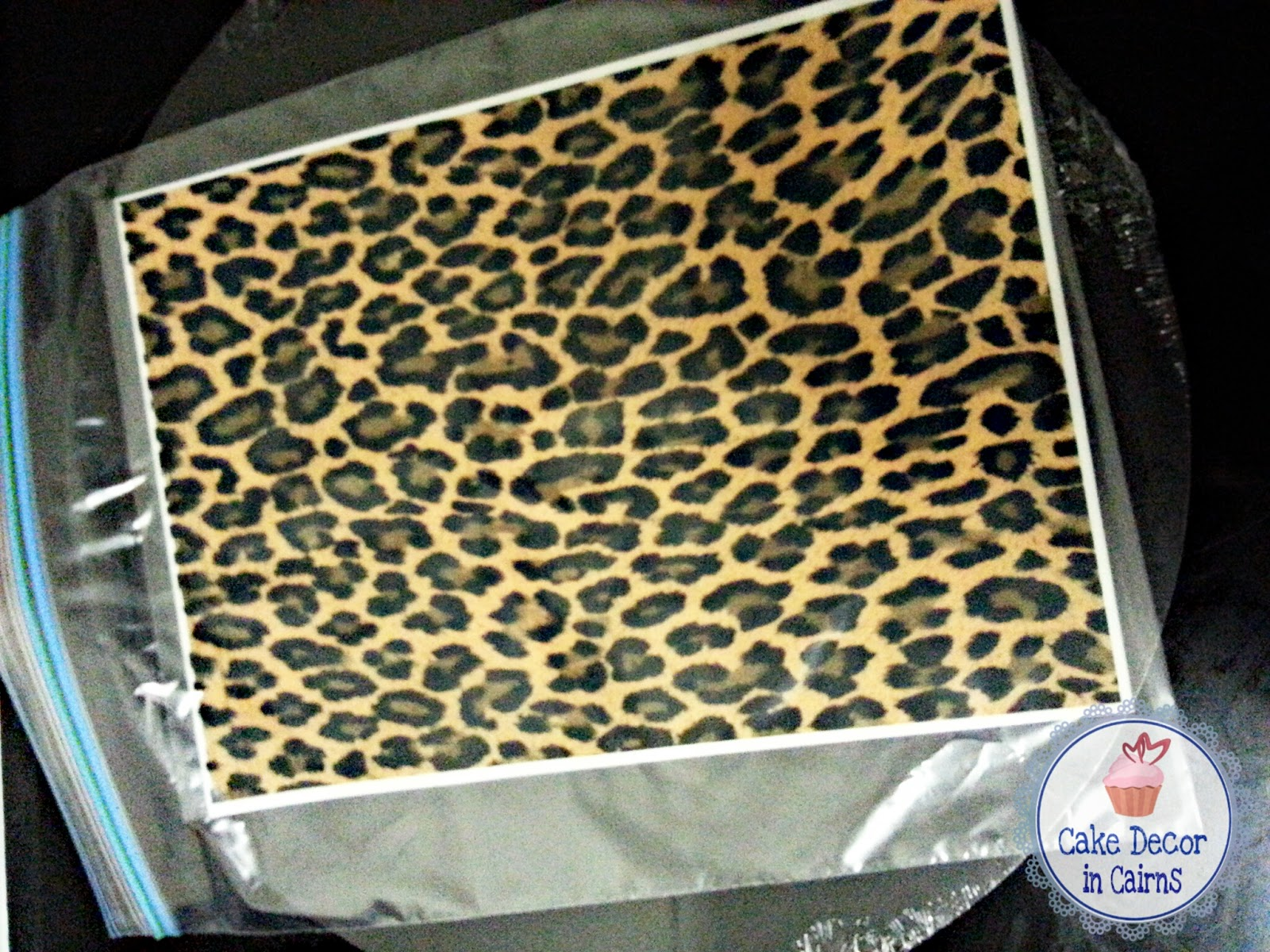 Edible Leopard Print icing sheet to stick on ganache instead of chocolate hand painting.