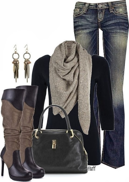 Grey scarf, black blouse, jeans, long neck boots and handbag for fall