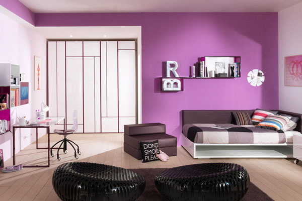 chambre fille ado violette. Black Bedroom Furniture Sets. Home Design Ideas