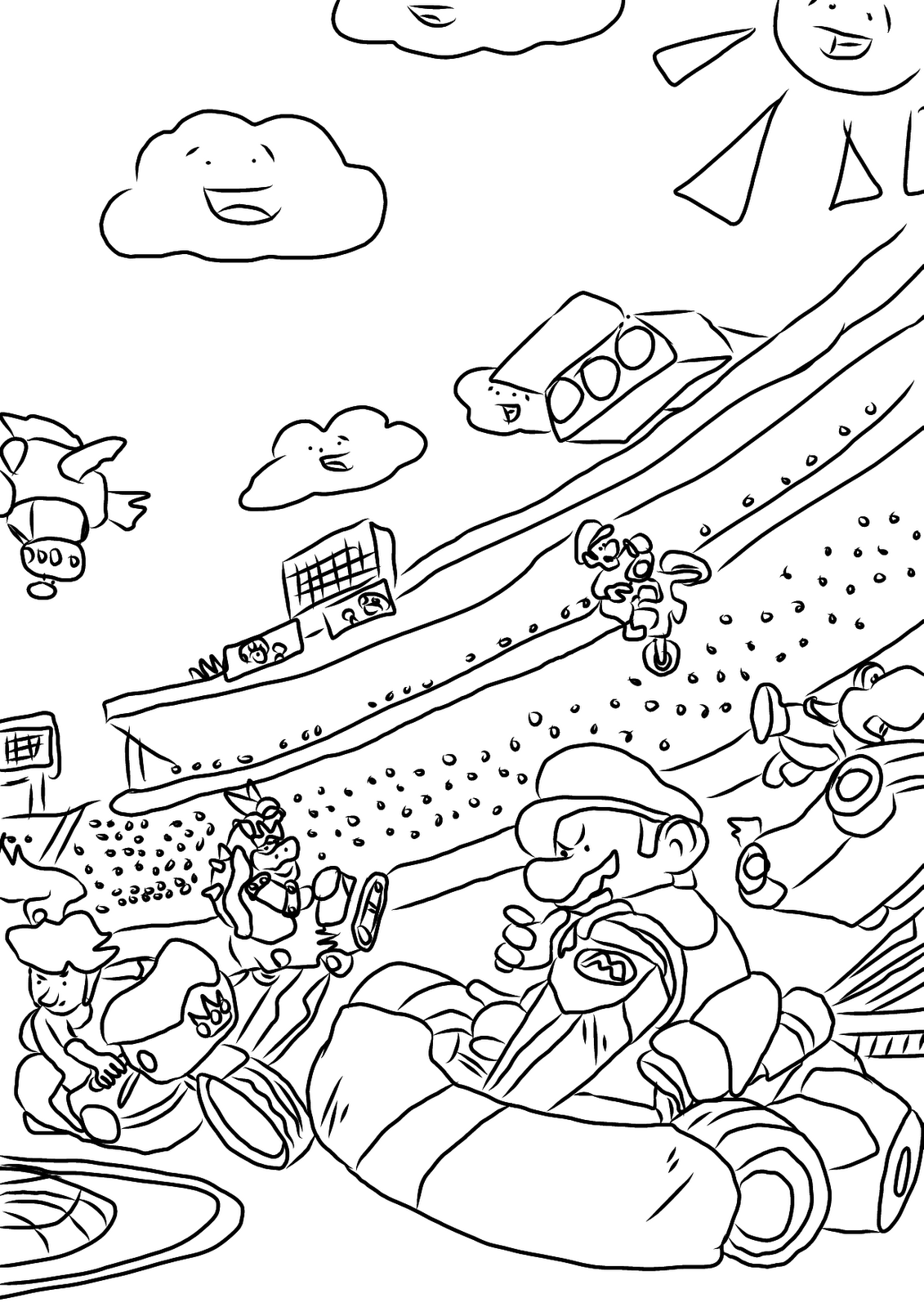 coloring pages mario kart - mario and luigi coloring pages