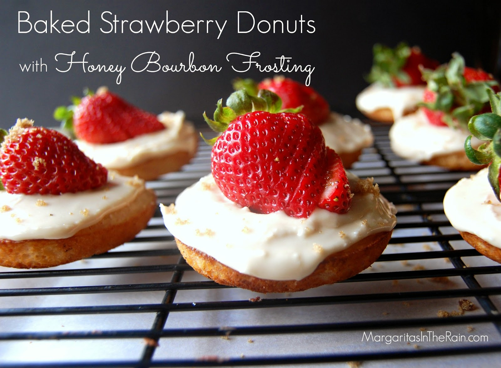 Baked Strawberry Donuts with Honey Bourbon Glaze