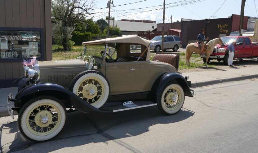 Model A and cowboys