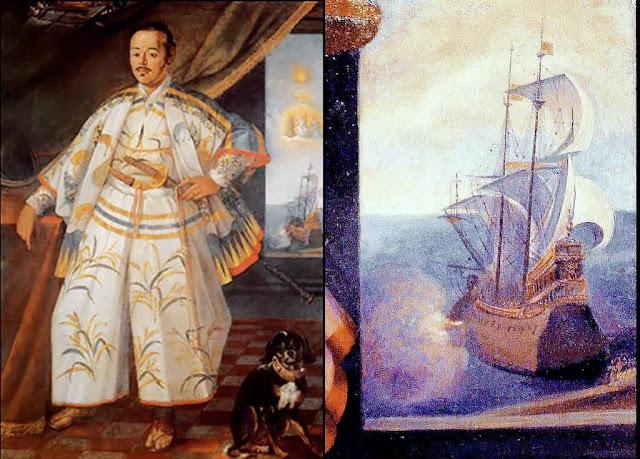 O samurai Hasekura Tsunenaga, chefe da primeira missão diplomática japonesa na Europa.  Seu galeão era o 'São João Batista'. O embaixador foi batizado na capela pessoal  do rei da Espanha em Madri, em 1615. Morreu exortando todos à fidelidade ao catolicismo.  Seus descendentes e servos foram martirizados.