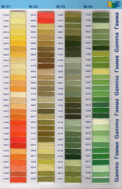 Нитки гамма для вышивки по цветам 831