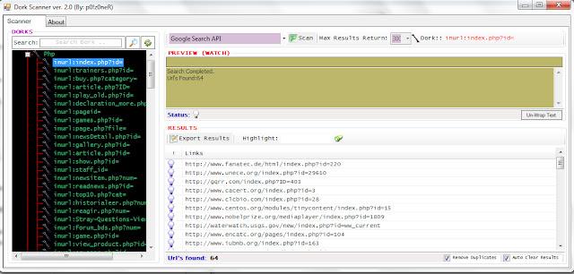 Programa Dork Scanner Ver 2.0