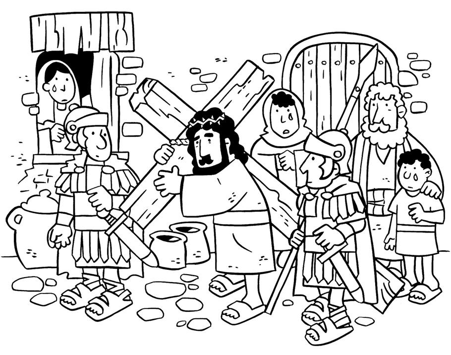 Jesús camino al Calvario colorear