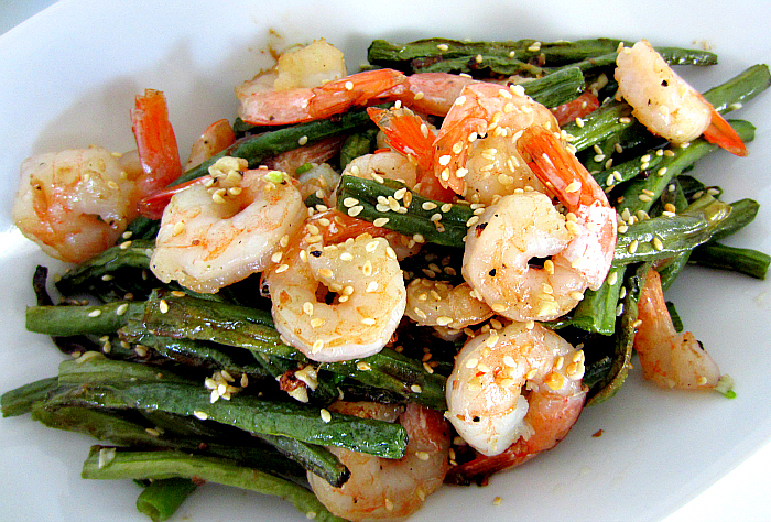 ... roasted green beans spicy roasted green beans or broccoli and shrimp