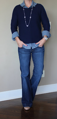 Sweater: Old Navy - only $14!!!  Button Up Top: J. Crew Factory  Flare Jeans: 7 For All Mankind, also in light wash  Booties: Cole Haan  Necklace: Old Navy- in store only, similar  Watch: Michael Kors - major sale! (similar - only $15!, similar, similar - 70% off!)