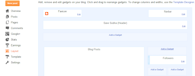 Blogger Layout tab