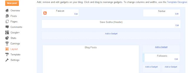 Blogger Layout tab