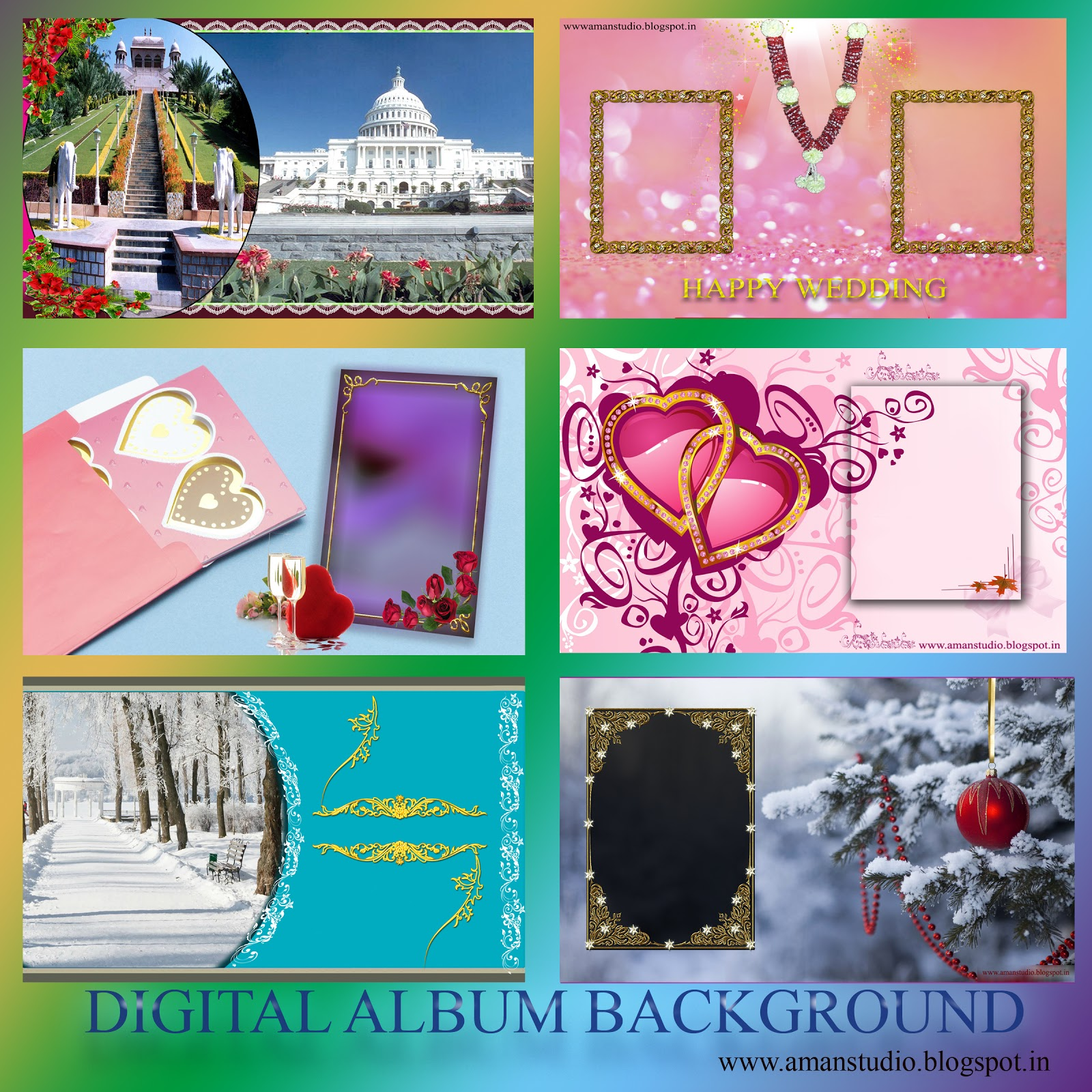 Wedding Album Design Software Digital Photography Free Download: Aman Studio: Digital Album Backgrounds Psd & Jpeg