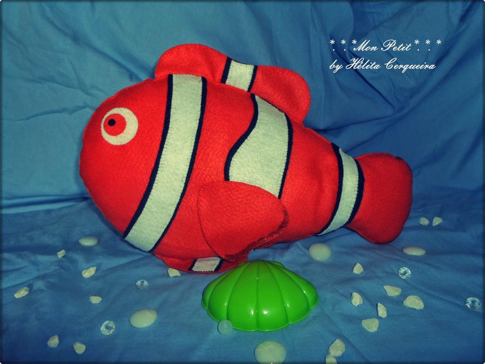 fundo do mar-decoração-aniversário-feltro-pequena sereia-peixe palhaço