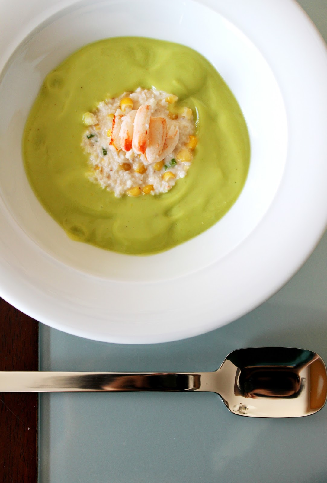 Chilled Avocado Soup with Crab and Corn Mayo | My ...