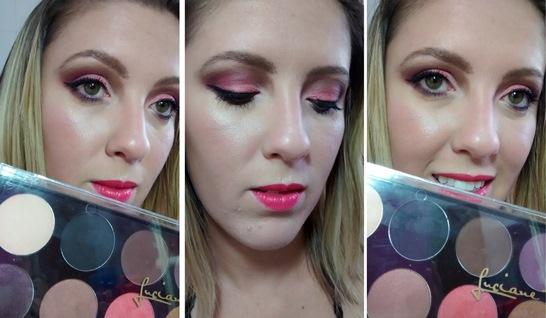 Maquiagem com tons de lilás e lápis roxo