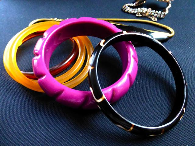 thrift haul vintage lucite bracelets