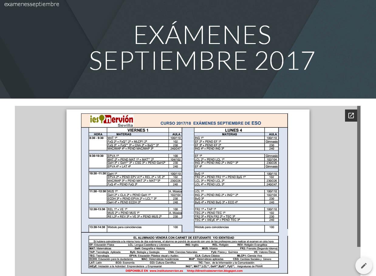 Calendario exámenes septiembre 2017