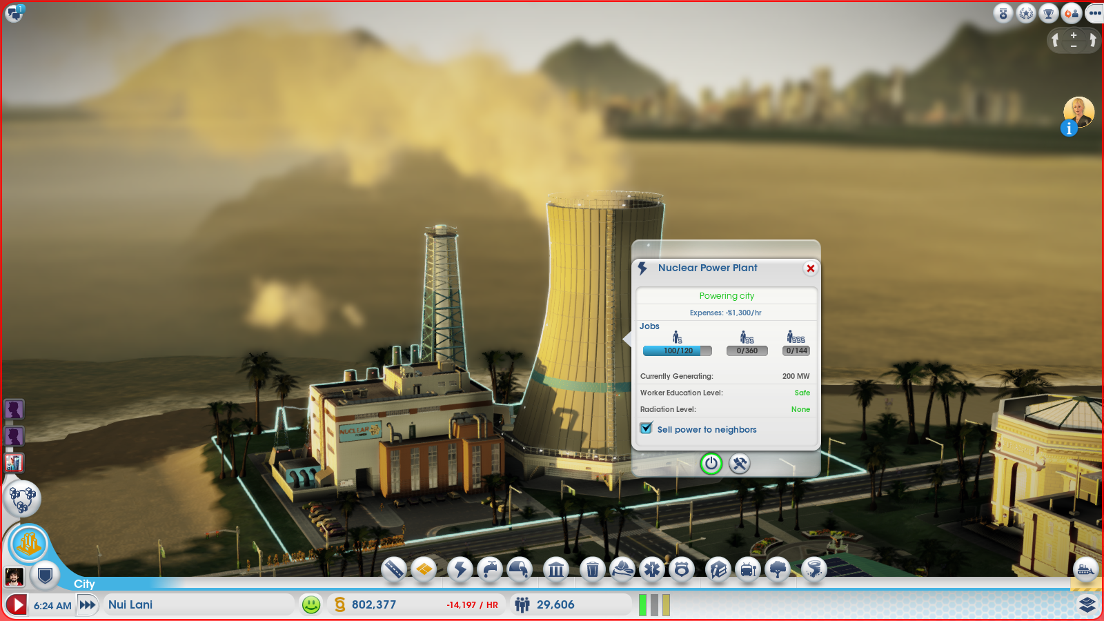 Power Plant in SimCity 2013 with the Extended Worker Data Mod