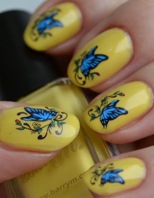 yellow manicure, water decals,