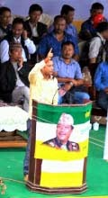 GJYM leader Paras Mani Chettri addressing the youth meeting in Mirik