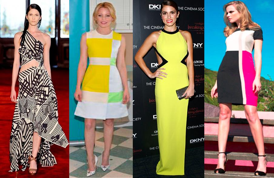 vestido, formatura, sucesso, geométrico, tendência