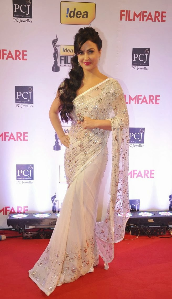 Elli Evram in a White Designer Saree and matching Blouse - Party Wear Sarees