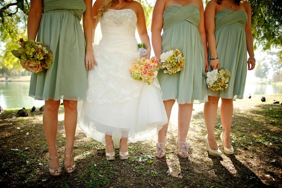 bride + bridesmaids shot of dresses - bridesmaids wearing mint