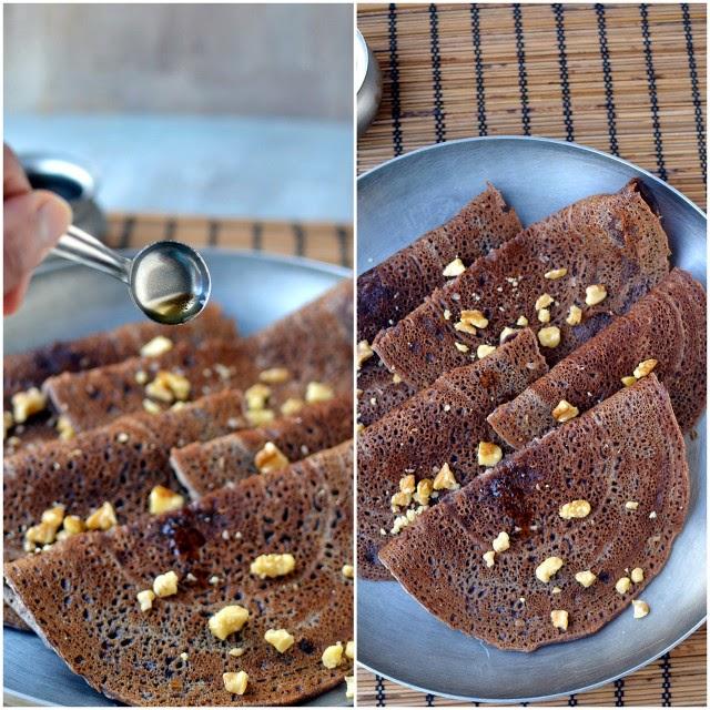 Sweet Ragi Dosa (Sweet Finger Millet Crepes)