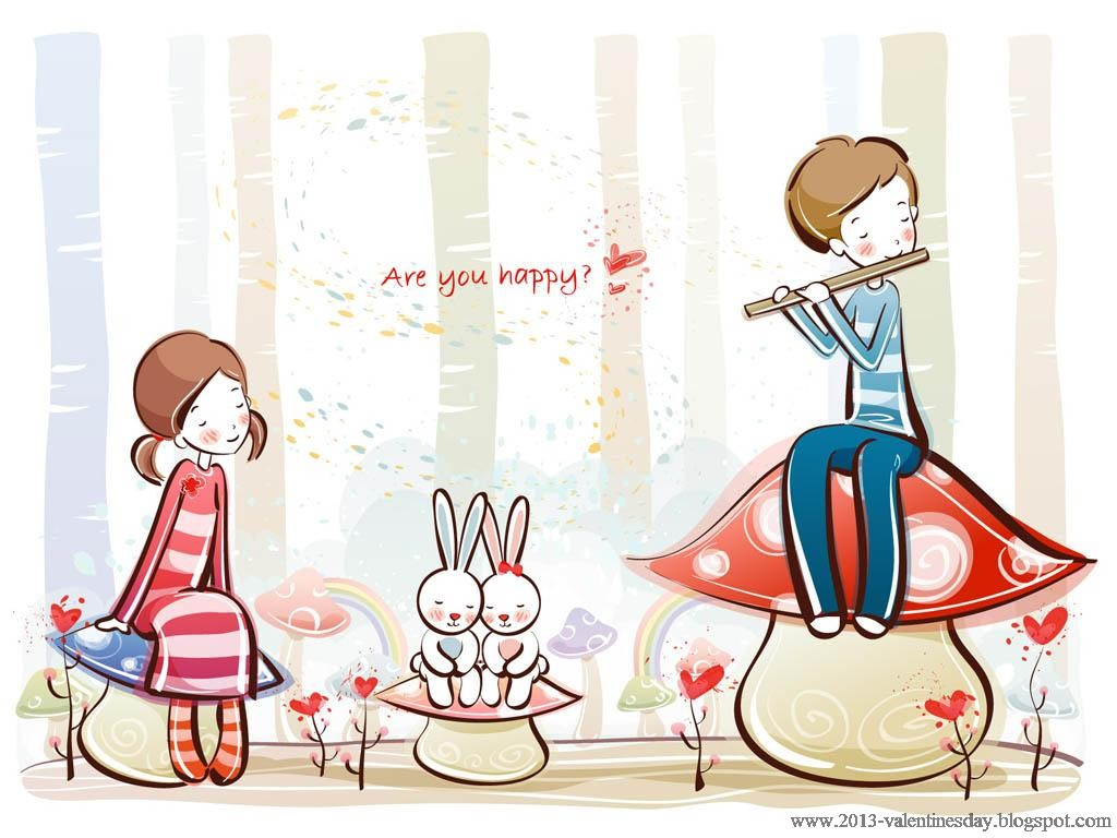 Love couple Wallpaper Hd cartoon : cute cartoon couple Love Hd wallpapers for Valentines day