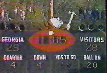 Old Sanford Stadium Scoreboard during the final seconds of the 1978 UGA/Tech game. Photo: About Them Dawgs Blawg