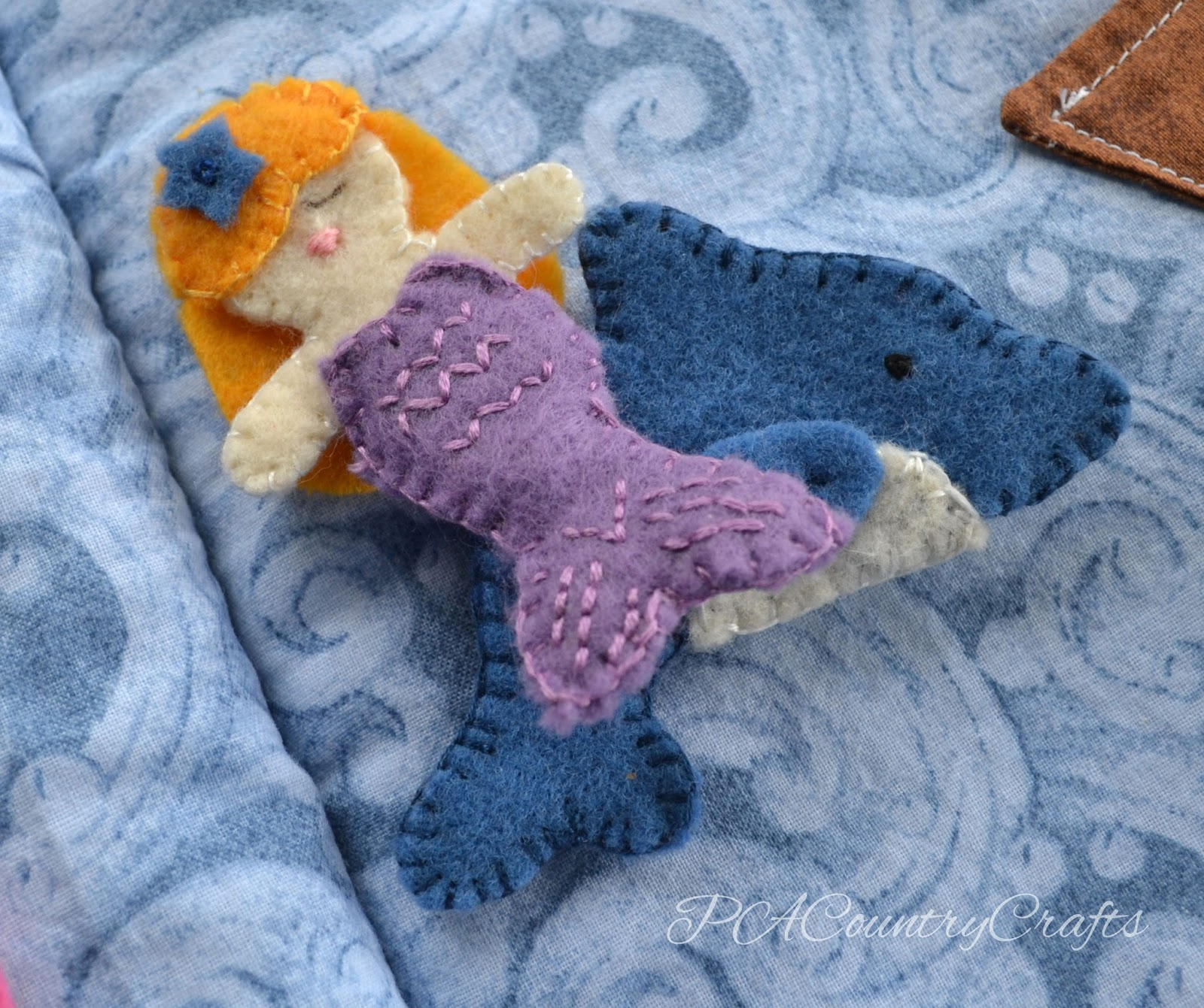 felt mermaid and dolphin
