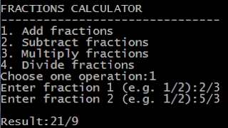 Java fraction calculator program