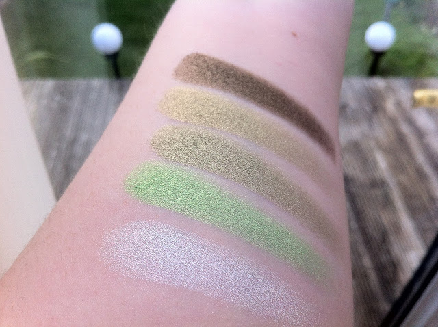 green saffron palette swatched on my arm