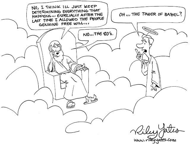 Determinism cartoon, God and free will, Fatalism, Predestination cartoon