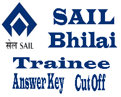 SAIL Bhilai Trainee Answer Key 2015