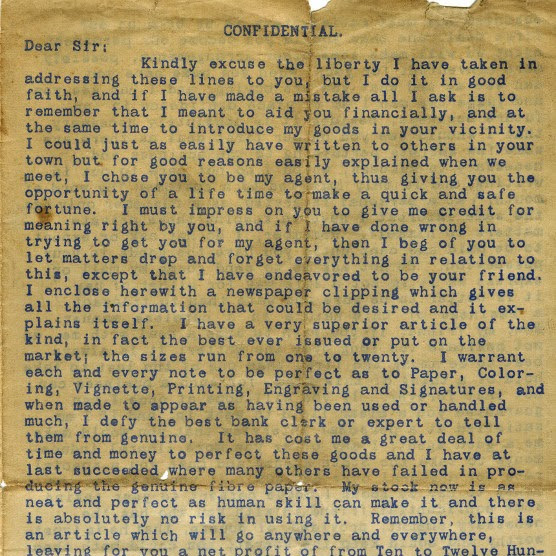 Letter Sent To W. T. Thompson 1891-What's This All About?